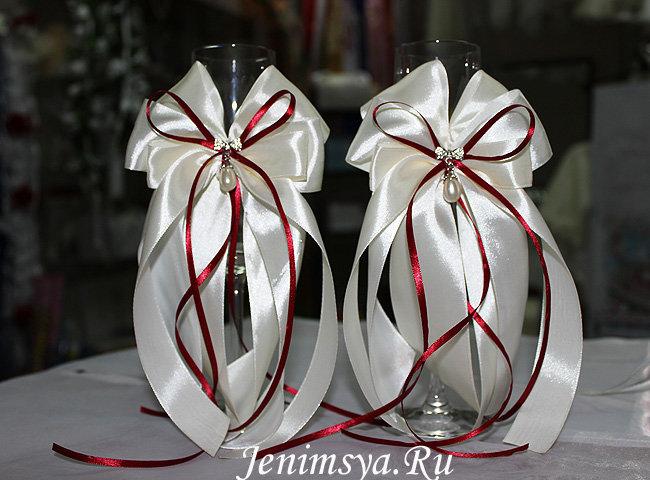 Как сделать бантики из атласной ленты на свадебные бокалы