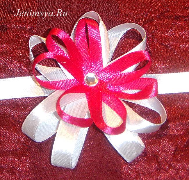 Цветы для подружек невесты на руку своими руками из ленты 12