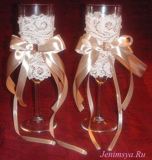 Декор шампанского кружевом своими руками